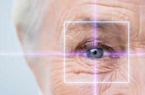 Elderly Woman's Eye Pierced by Laser Shining Light